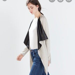 Zara Open Cardigan with Faux Leather Lapels